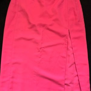 Maxi Hot Pink Skirt with Thigh High Slit